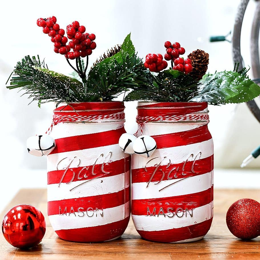 candy cane christmas mason jar crafts