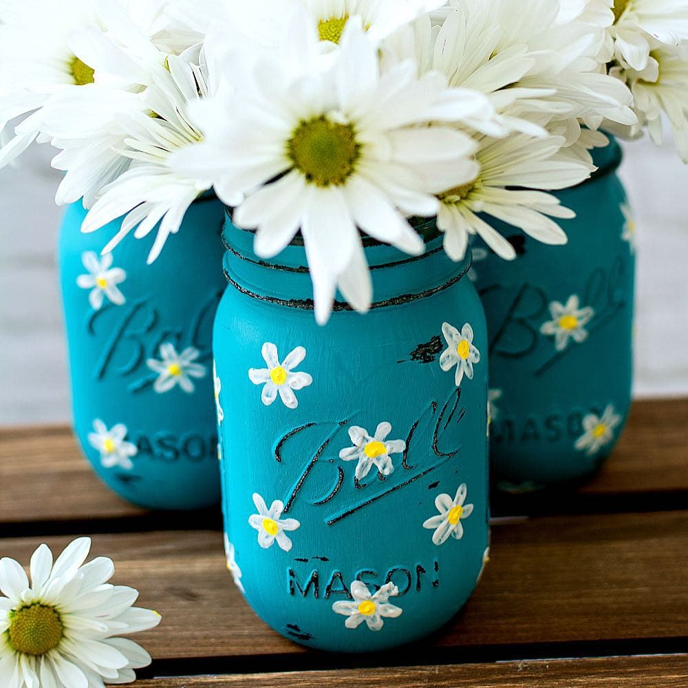 daisy painted mason jar craft flower pot