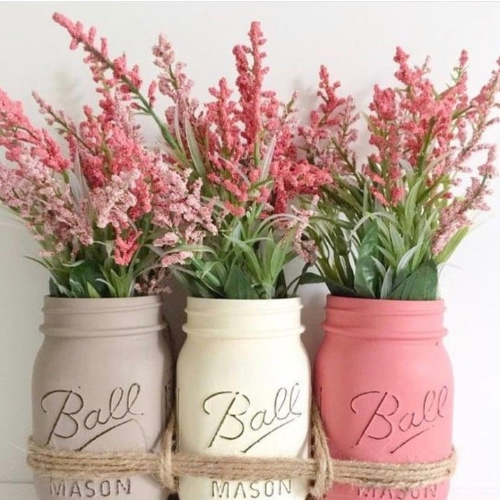 flowers mason jar craft flower pot