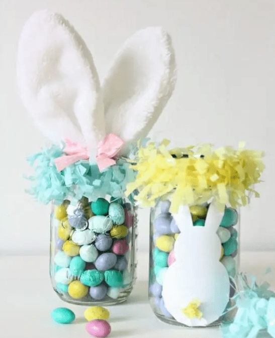 easter bunny and eggs mason jar crafts for kids