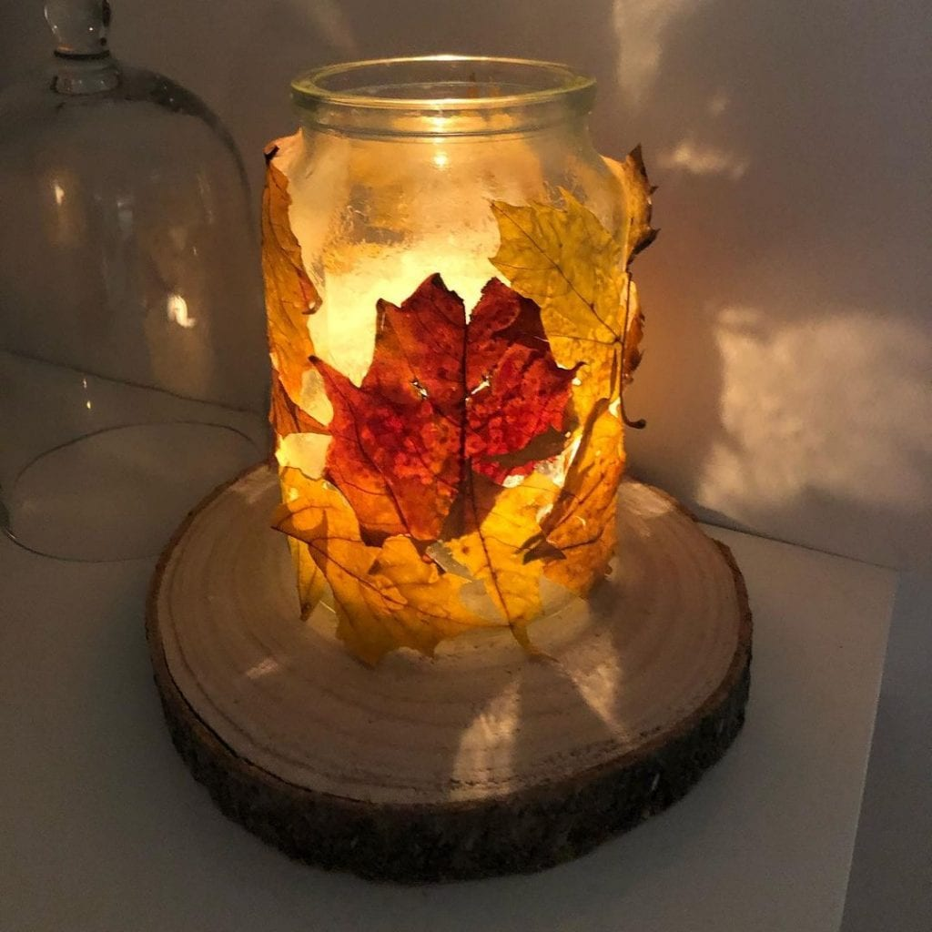 autum decor light mason jar crafts