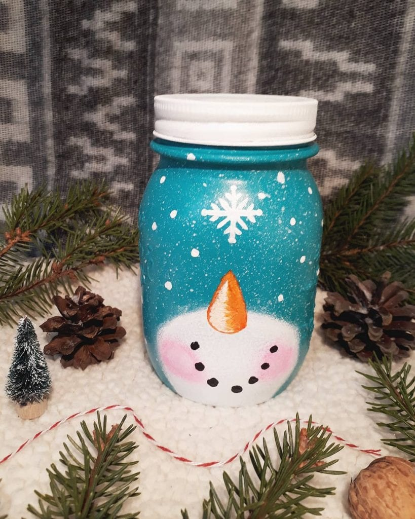 snowman painted mason jar crafts