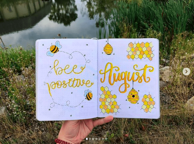 bee theme august bullet journal 4