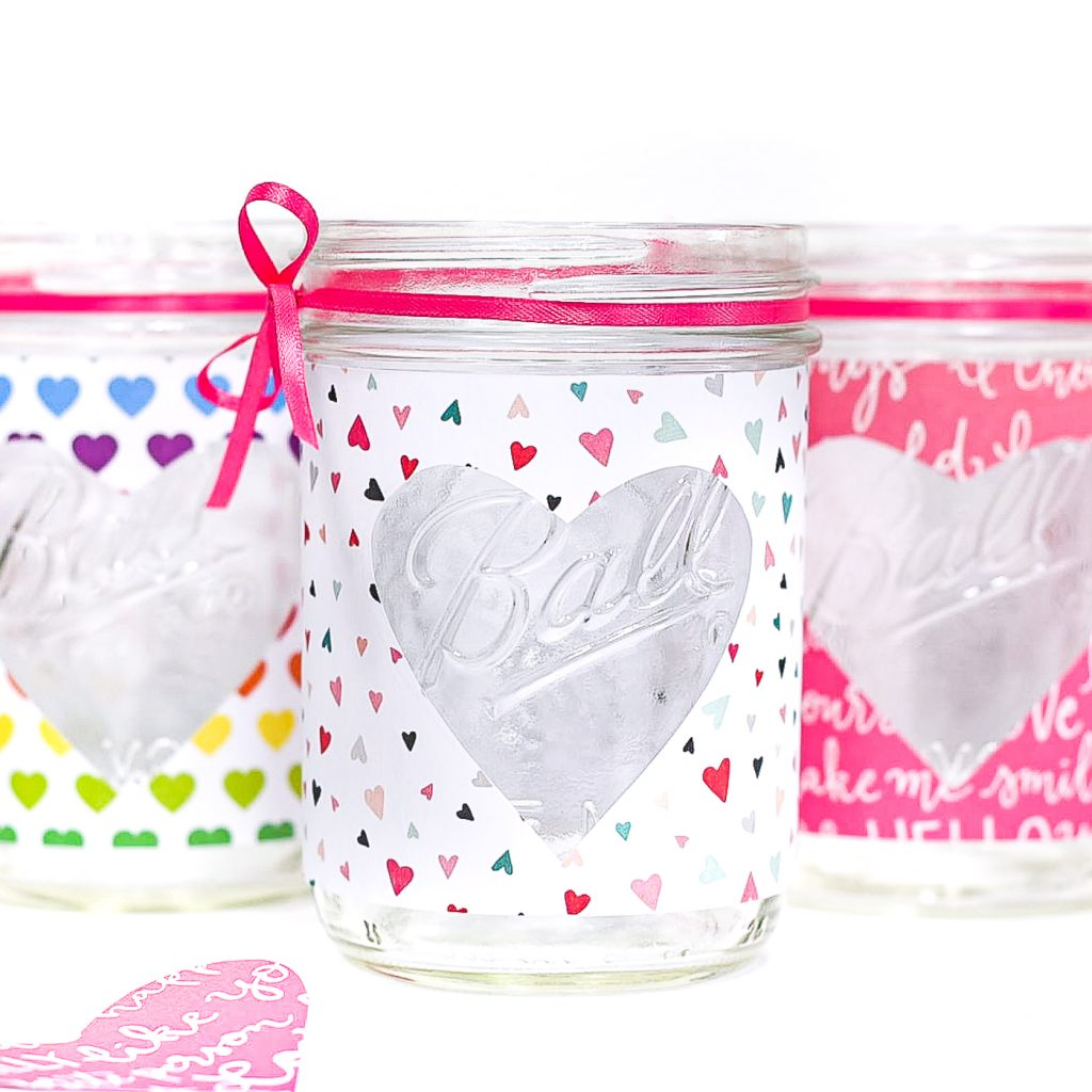 heart cut valentines day mason jar craft