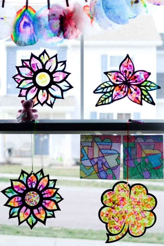 tissue-paper-stained-glass-flower-craft-