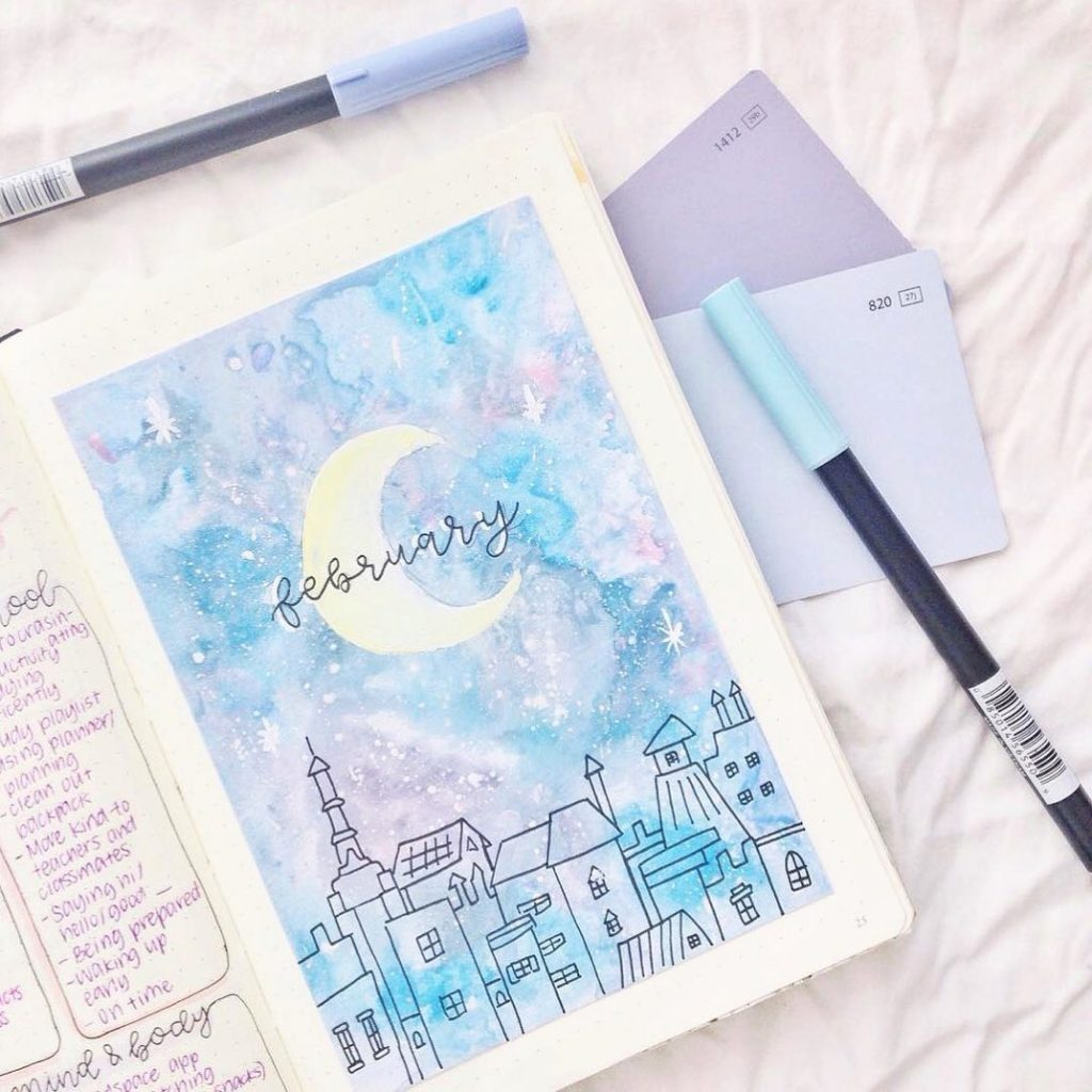 Magical starry sky February cover page