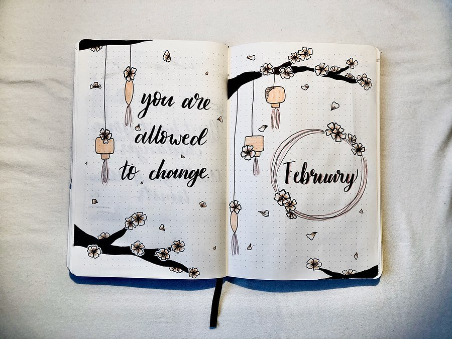 Floral Theme Cover Page Ideas For February