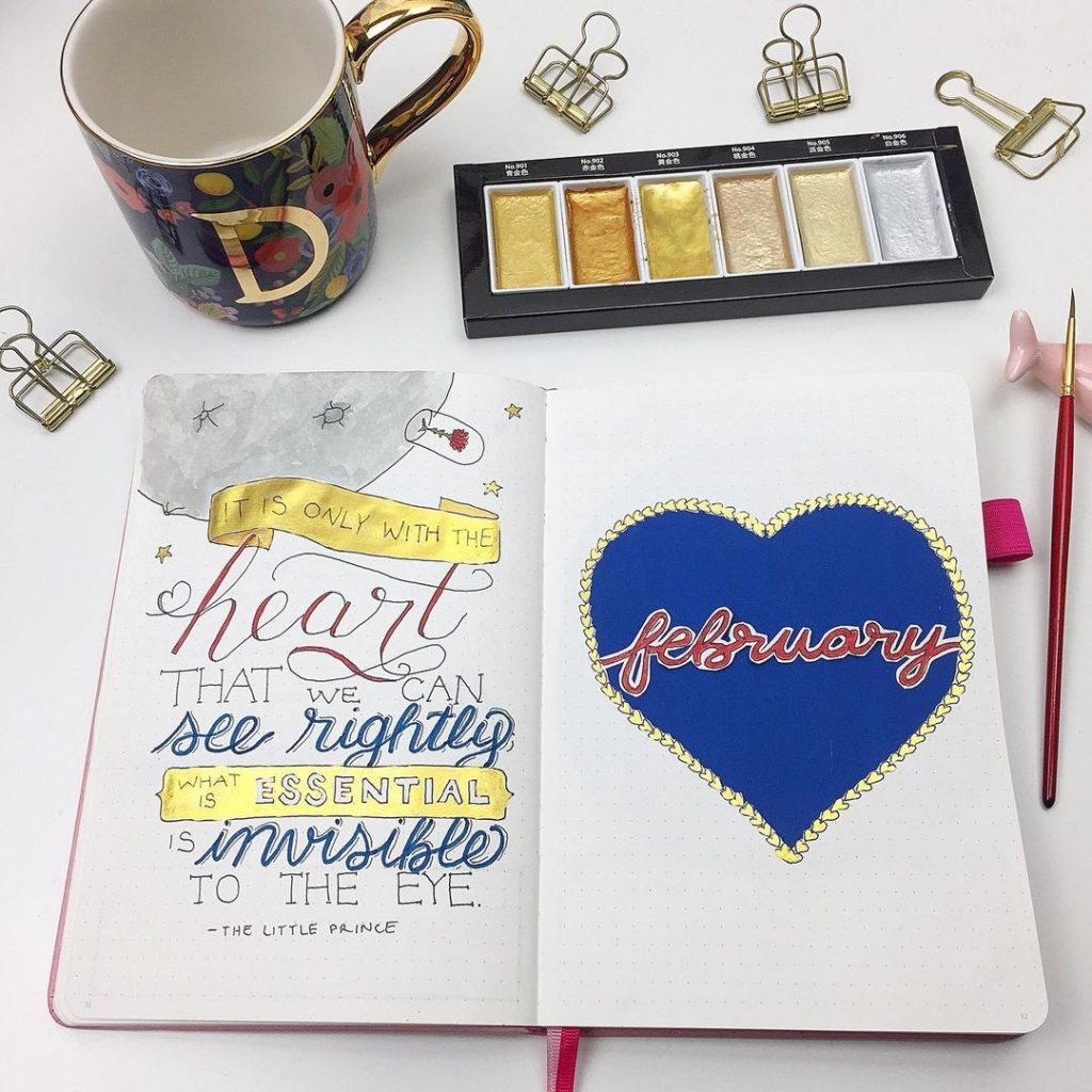 February Bullet Journal Cover Page Ideas