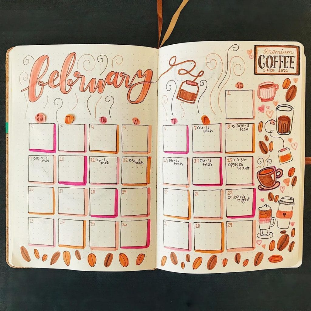 coffee and tea doodles monthly layout february bujo