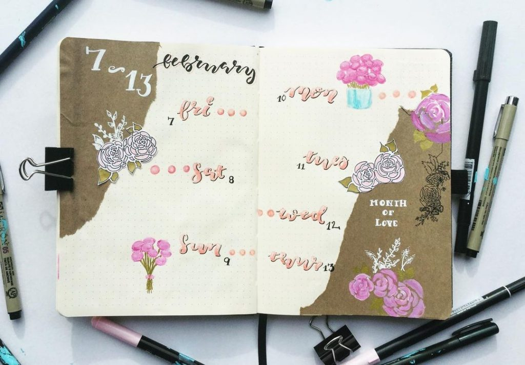 rose weekly layout february bullet journal