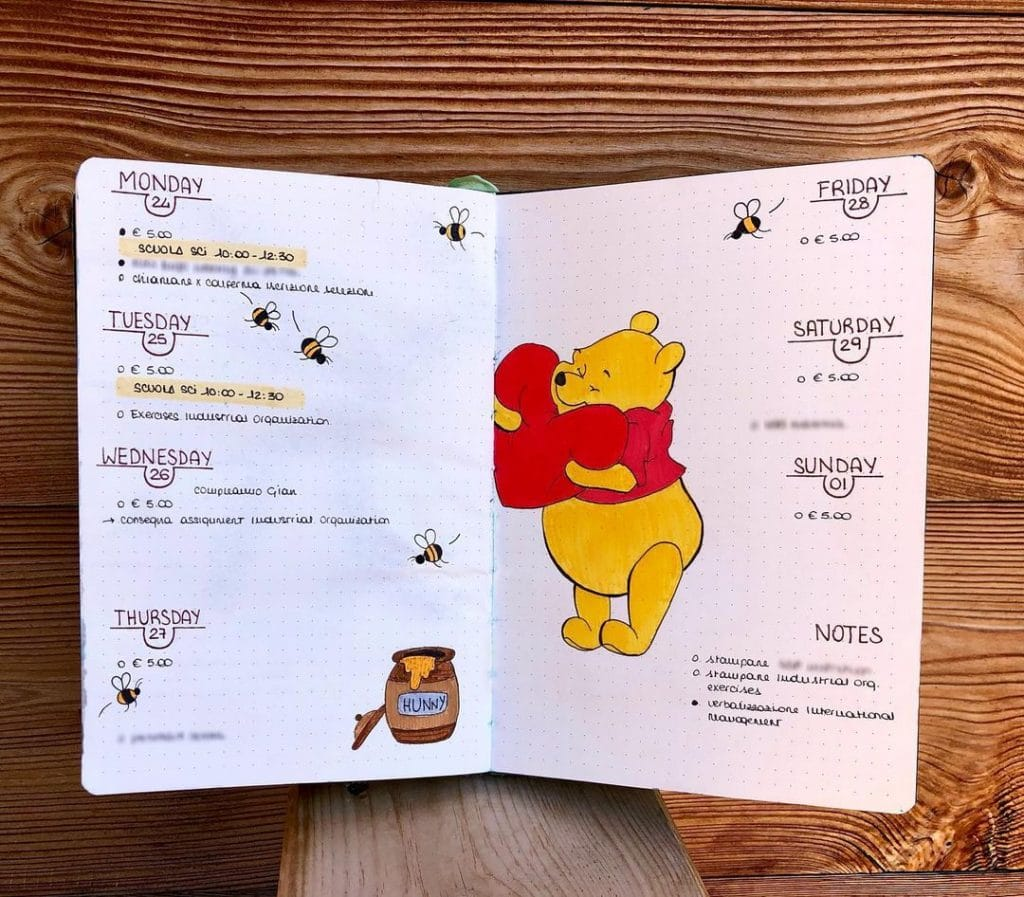 winnie-the-pooh weekly layout february bullet journal