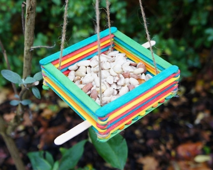 Birdfeeder Popsicle stick crafts for adults