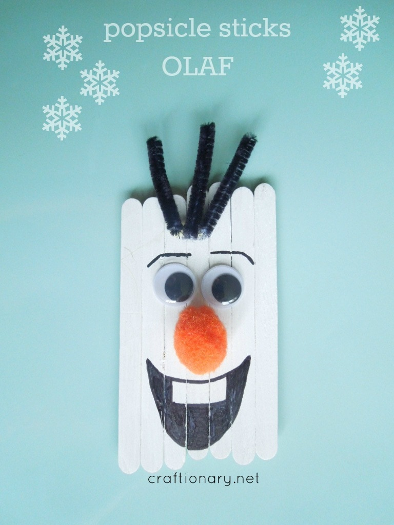Oalf Snowman Popsicle stick crafts for toddlers
