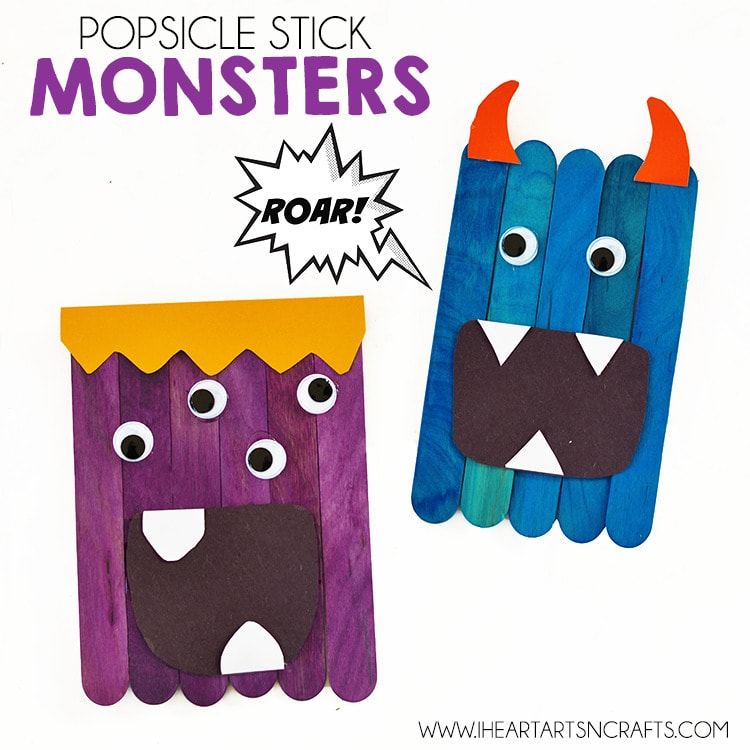 Monsters Halloween popsicle stick crafts