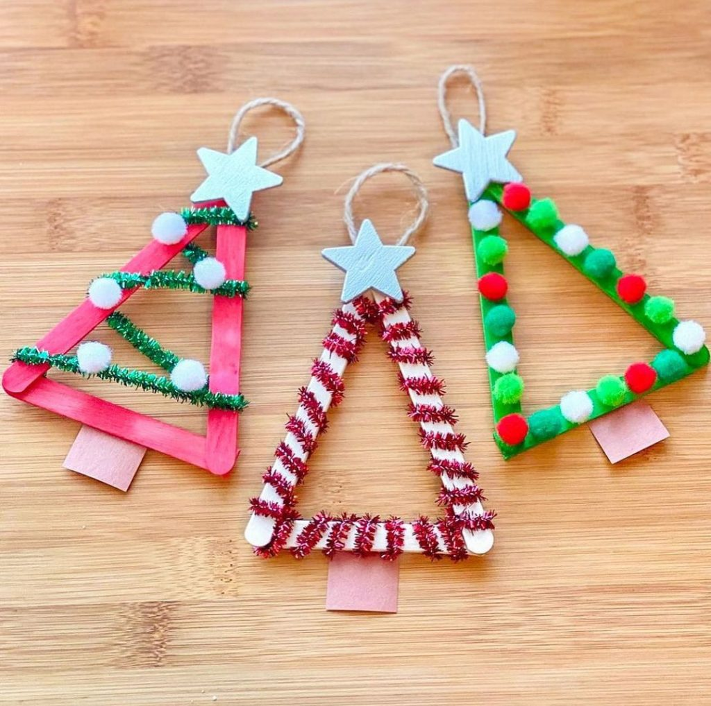 Tree Ornaments Popsicle stick christmas crafts