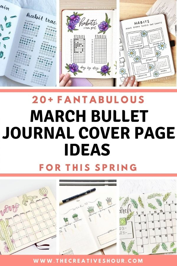 MARCH BULLET JOURNAL COVER PAGE