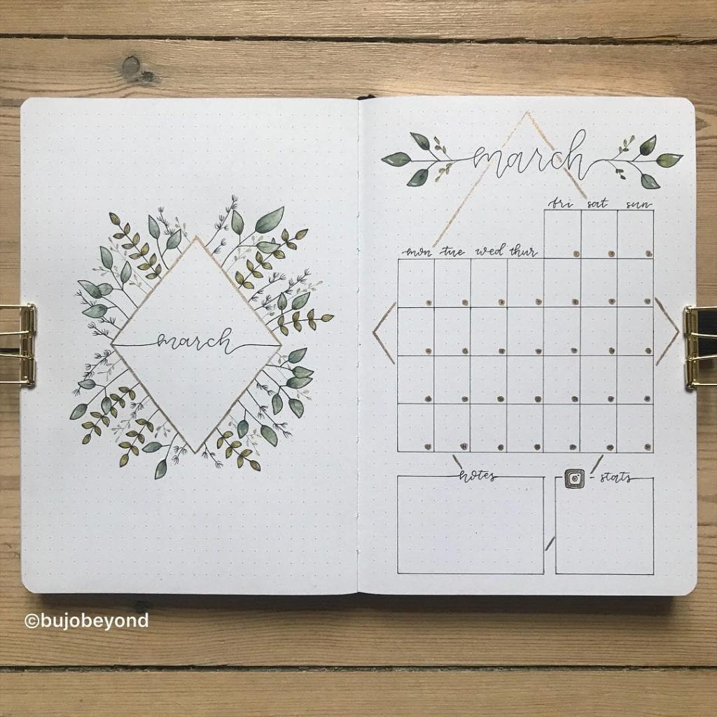 MARCH BULLET JOURNAL COVER PAGE IDEAS