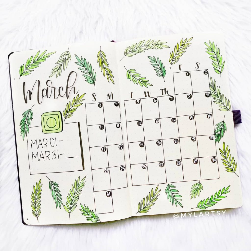 MARCH BULLET JOURNAL MONTHLY LAYOUT
