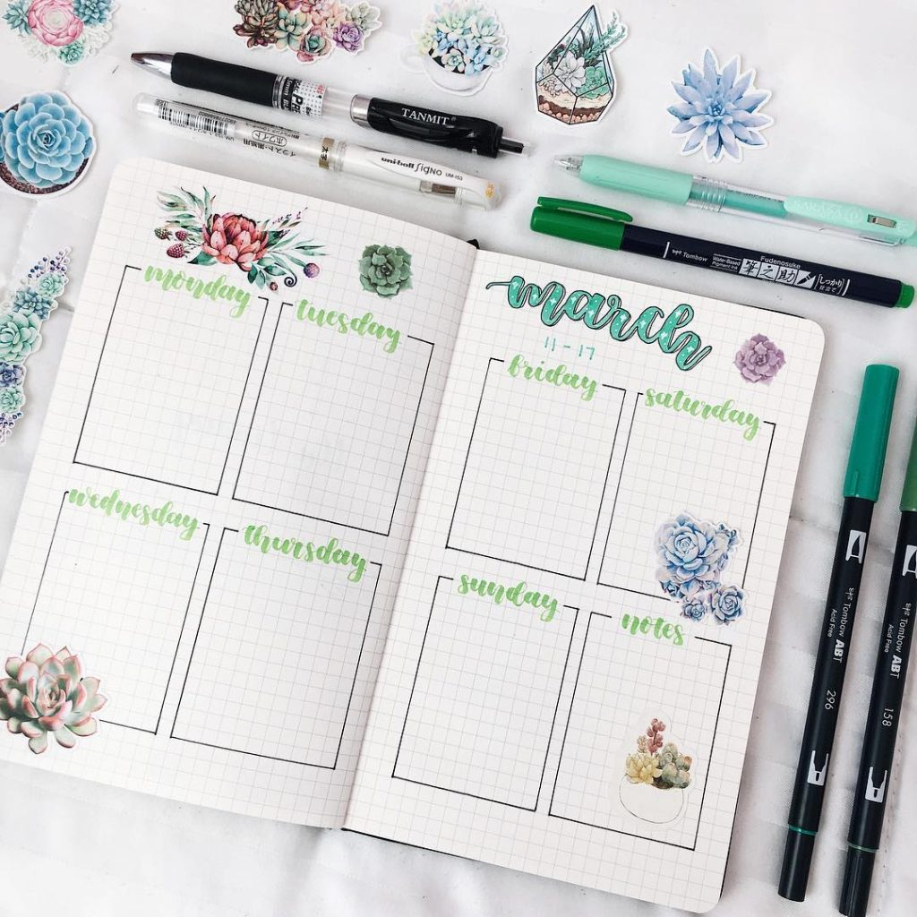 MARCH BULLET JOURNAL WEEKLY LAYOUT