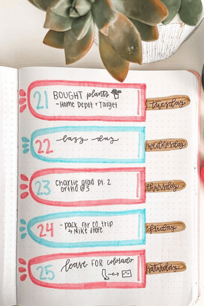 Ice Cream Bullet Journal Spreads Weekly Spread