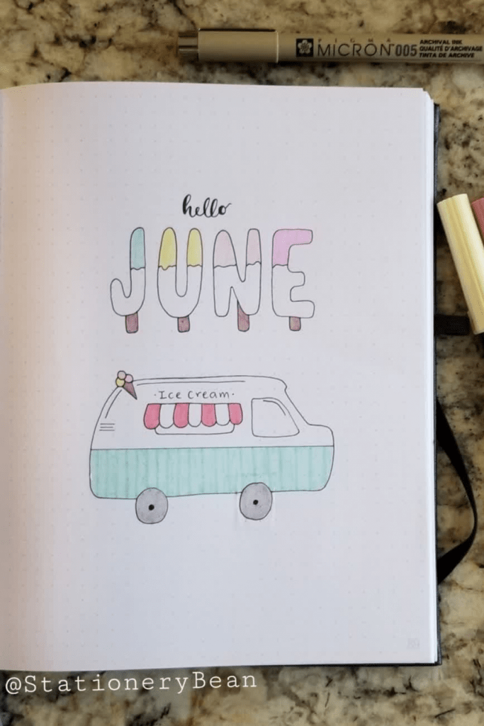 Ice Cream Bullet Journal Spreads Cover