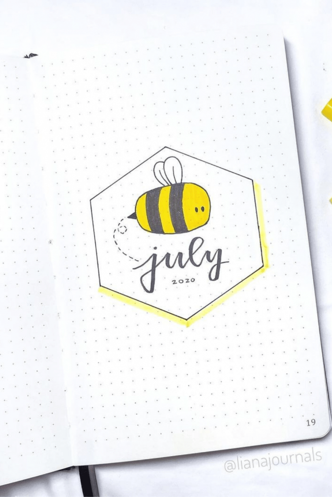 Bee Theme July Monthly Cover