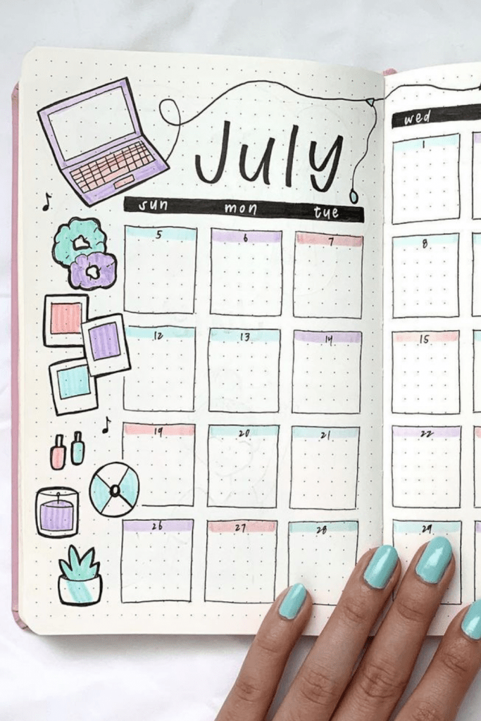 July Monthly Layout Bullet Journal