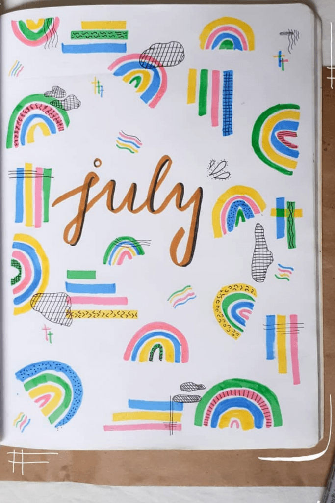 July Monthly Cover Bullet Journal
