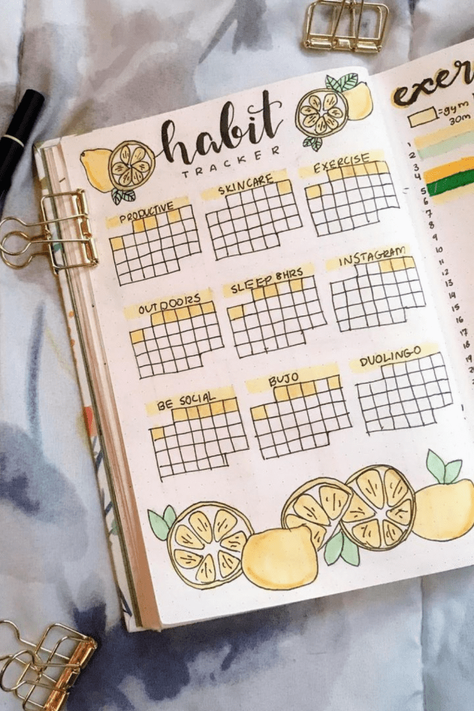 Lime Theme July habit trackers