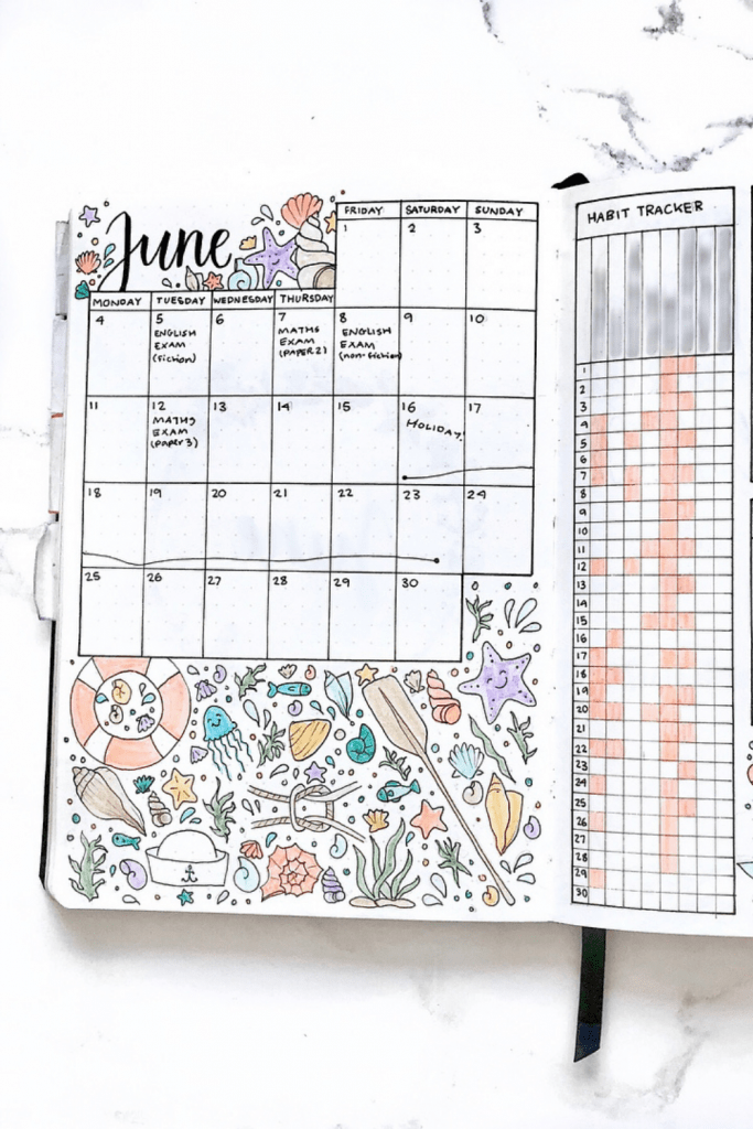 June Bullet Journal Monthly Layout