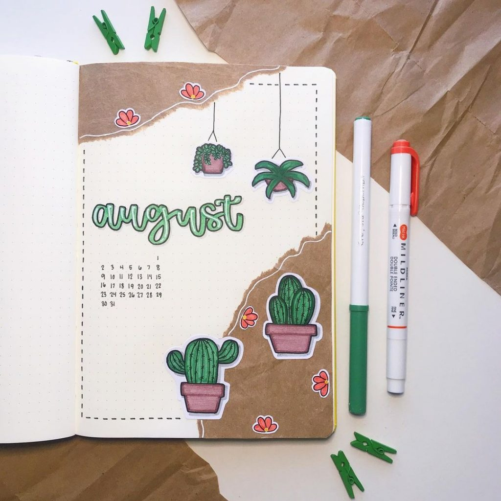 Cactus Theme August Month Cover