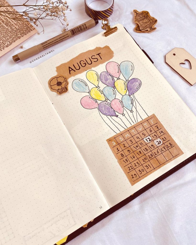 Balloon Theme August Month Cover