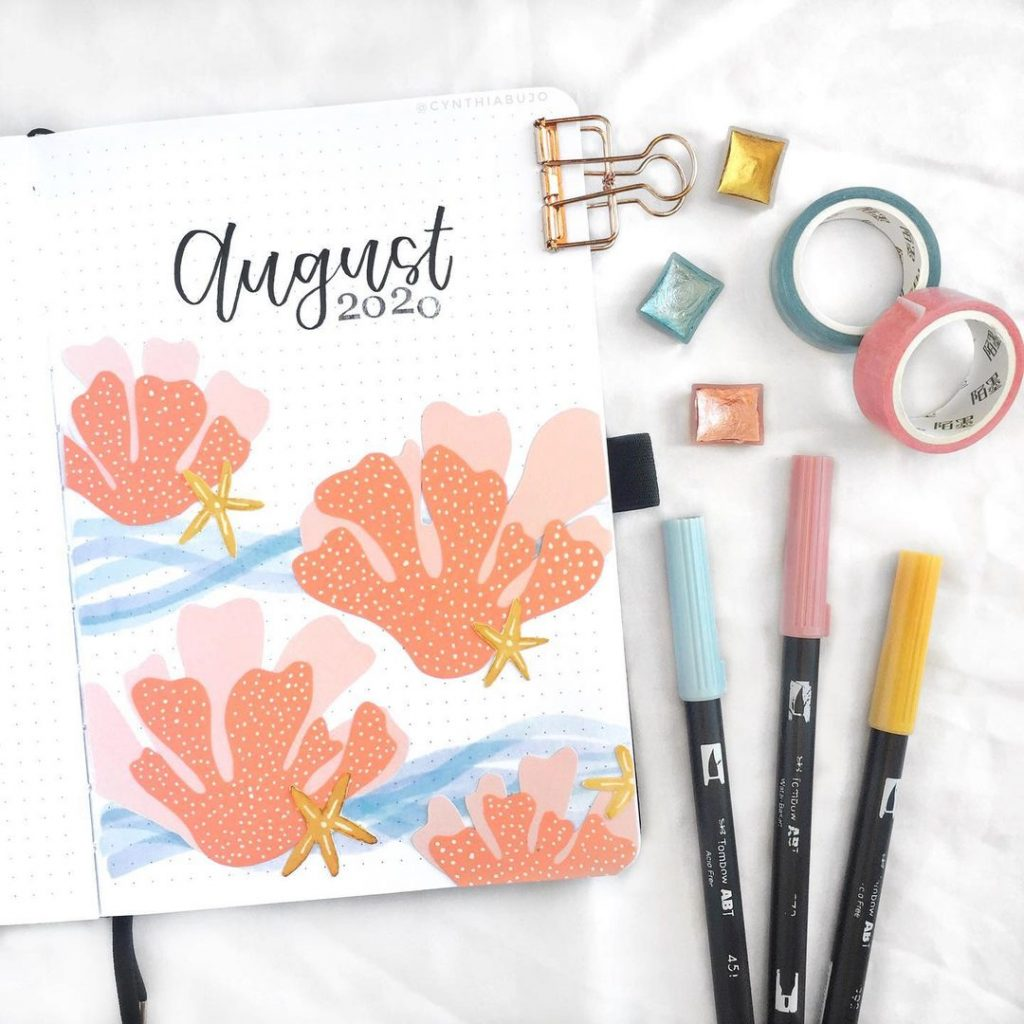 Coral Theme August Month Cover