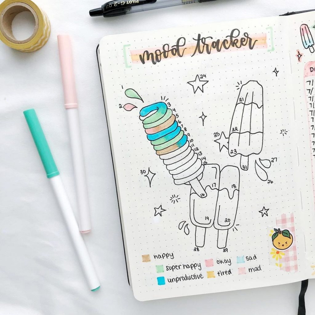 Popsicle July mood trackers