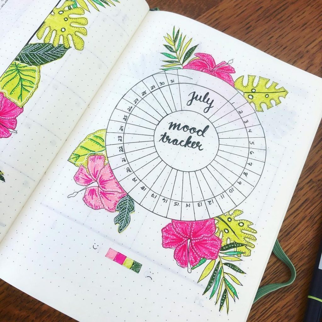 Floral & Colourful July mood trackers