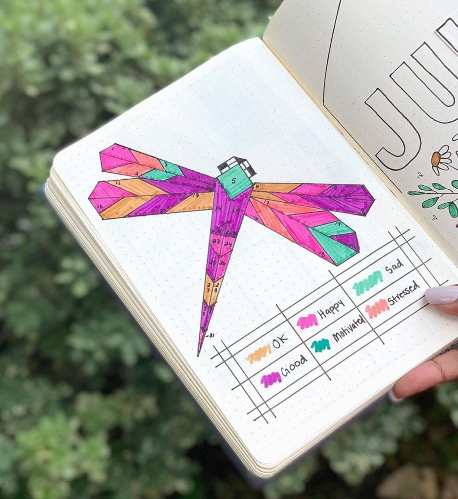 Dragonfly July mood trackers