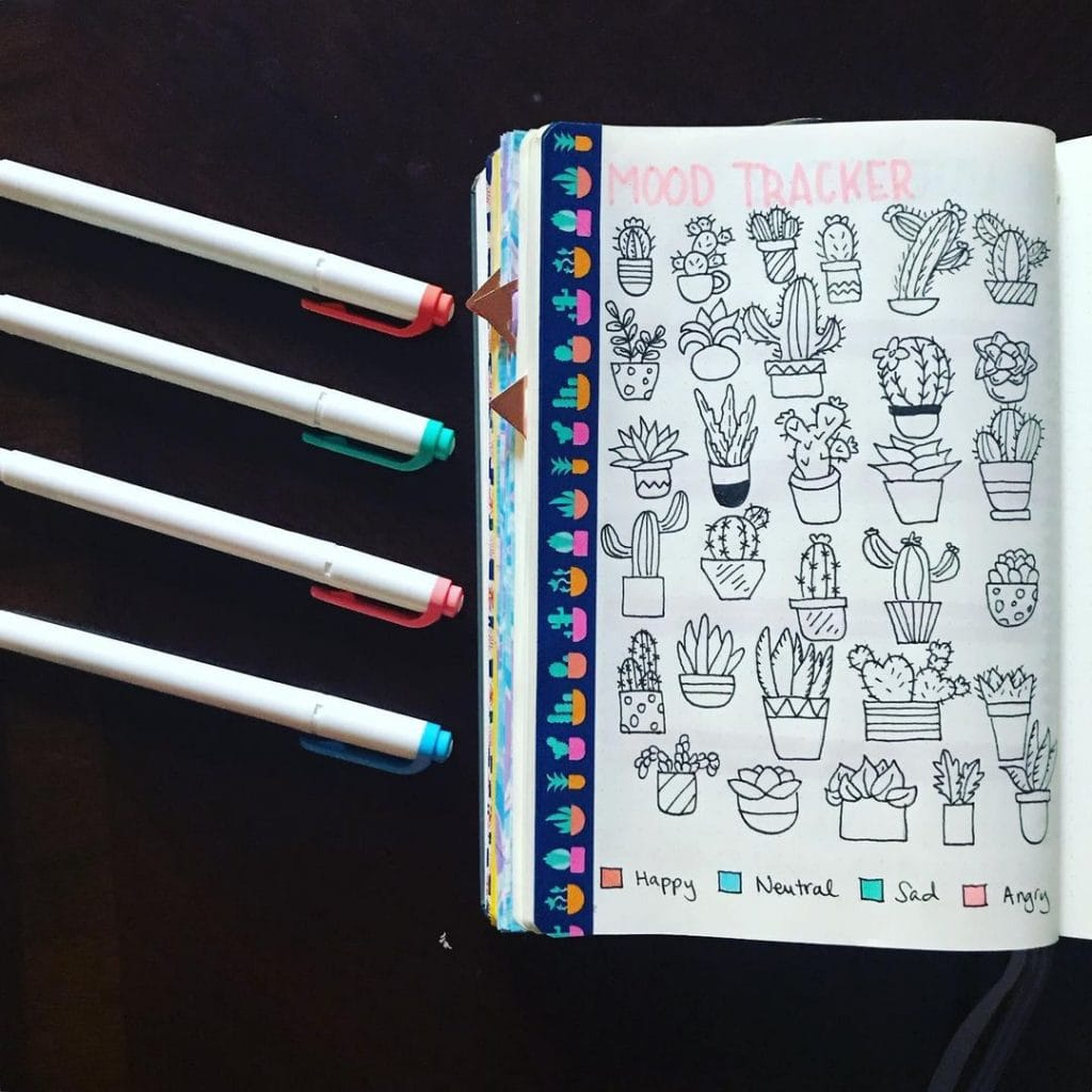 Cactus Doodling July mood trackers