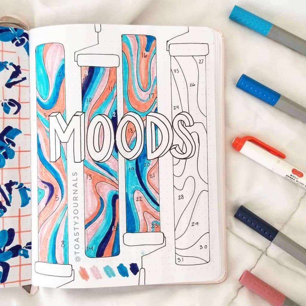 Colourful July mood trackers