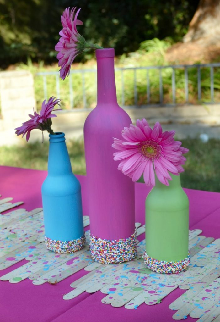 Painted wine bottle crafts