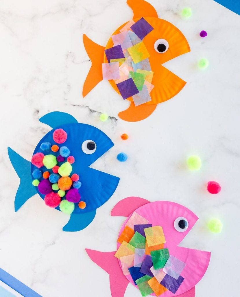 Colourful Fish Paper Plate Crafts