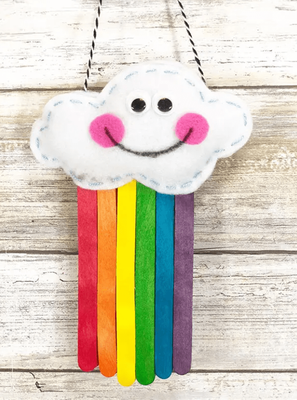 Hanging-popsicle-stick-rainbow-with-felt-cloud