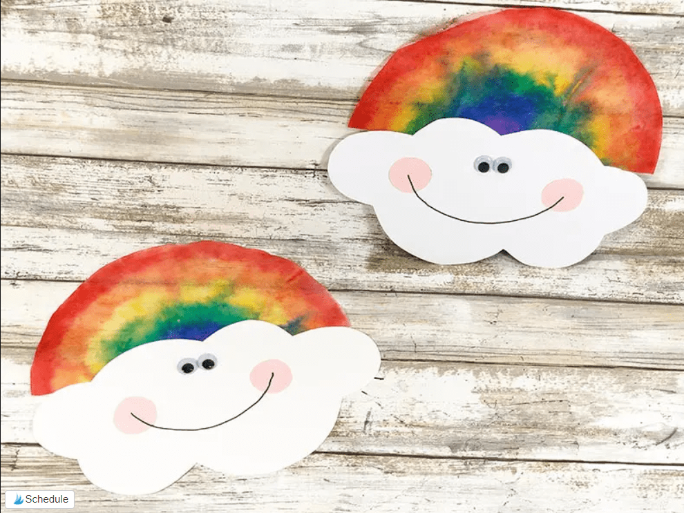 Coffee-filter-rainbow-clouds crafts
