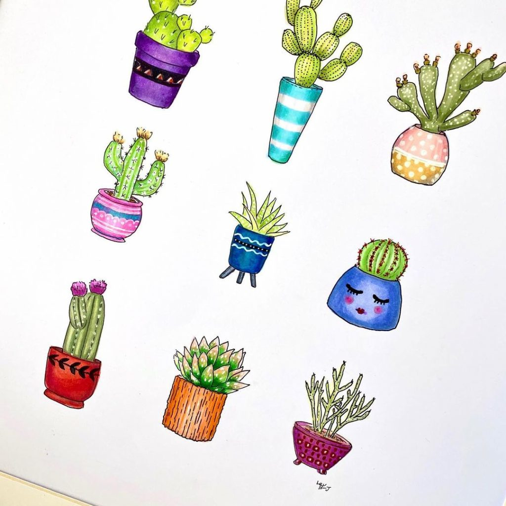 Succulent Doodles in a glass frame