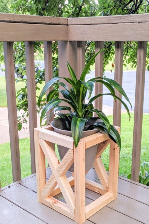 outdoor wooden plant stand